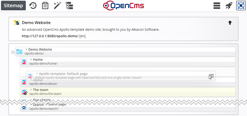 opencms documentation the sitemap editor